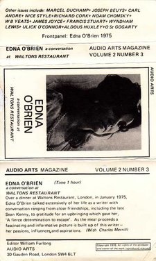 Audio Arts Volume 2 No 3 Inlay showing cassette layout with description of content typewritten below a photo of Edna O'Brien