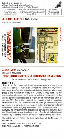 Audio Arts Volume 9 No 2 Inlay showing cassette layout with Lichtenstein artwork and Richard Hamilton artwork with sides content