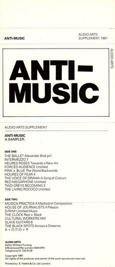 Audio Arts supplement Anti Music inlay 1; cassette sleeve