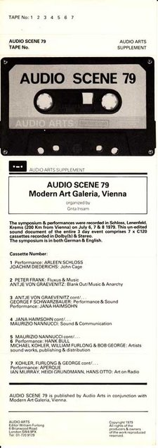Inlay for Audio Arts supplement Audio Scene 79 showing a photo of the cassette and content details
