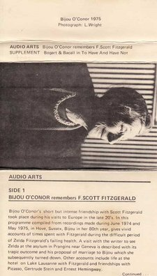 Inlay for Audio Arts supplement Bijou O'Connor remembers F. Scott Fitzgerald showing a photo of Bijou along with information about side 1