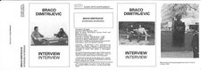 Inlay for Audio Arts supplement Braco Dimitrijevic showing photos of Dimitrijevic in interview along with a photo of a monument and the contents of the cassette