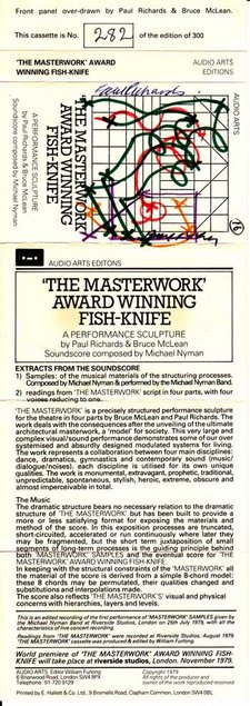 Inlay for Audio Arts supplement Bruce McLean and Paul Richards, The Masterwork Award Winning Fishknife showing cassette artwork and content information
