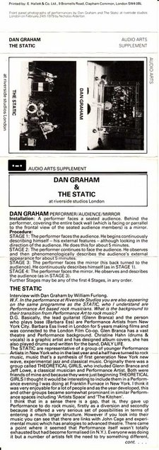 Inlay for Audio Arts supplement Dan Graham & the Static showing cassette sleeve with image and information about Dan Graham and the Static