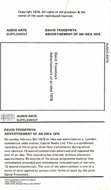 Inlay for Audio Arts supplement David Troostwyk showing cassette layout with information about it's content