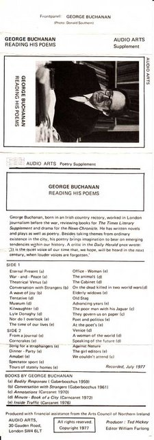 Audio Arts supplement George Buchanan Song for Straphangers inlay showing a photo of Buchanan along with cassette contents