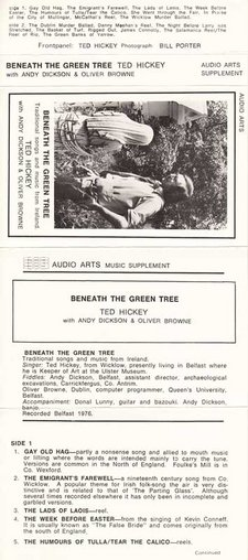 Inlay for Audio Arts supplement Ted Hickey, Beneath the Green Tree showing cover photograph and content details for side 1