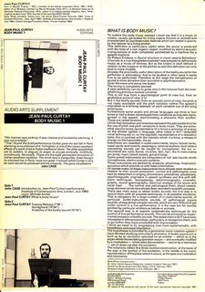 Inlay for Audio Arts supplement Jean-Paul Curtay, Body Music showing cover with photos, sides content and an explanation of Body Music
