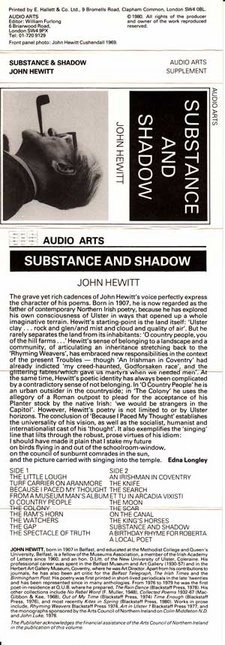 Inlay for Audio Arts supplement John Hewitt: Substance and Shadow showing a photograph of Hewitt, biographical information and side contents