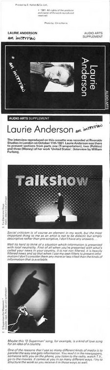 Inlay for Audio Arts supplement Laurie Anderson showing photos of Anderson and information about her work