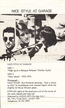 Inlay for Audio Arts Supplement Nice Style at Garage showing a photograph of performers and sides contents