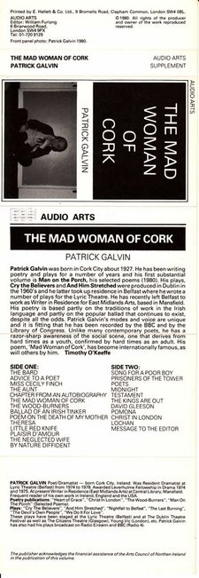 Inlay for Audio Arts supplement Patrick Galvin, The Mad Woman of Cork showing cassette sleeve with photograph, biographical information and side contents