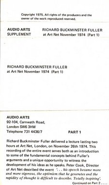 Inlay for Audio Arts supplement R. Buckminster Fuller showing part 1 information