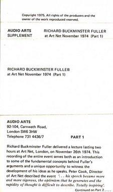 Inlay for Audio Arts supplement R. Buckminster Fuller showing part 1 information