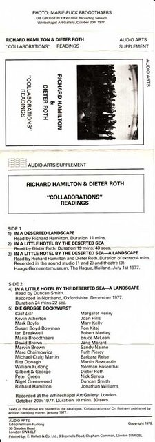Inlay for Audio Arts supplement Richard Hamilton and Dieter Roth showing cassette cover and content information