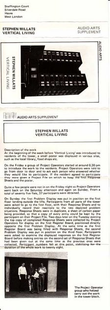 Inlay for Audio Arts supplement Stephen Willats, Vertical Living showing photograph of tower block along with description of the work
