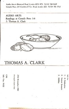 Audio Arts supplement Thomas A. Clark; Readings at Coracle Press cassette  inlay