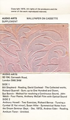 Inlay for the Audio Arts Wallpaper supplement