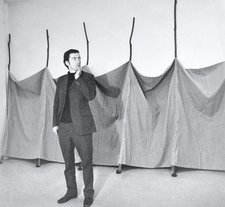 Barry Flanagan standing in front of Aug