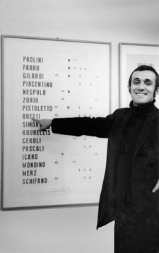 Boetti with Manifesto 1967 in 1970