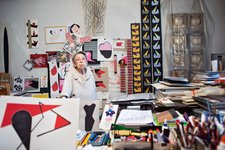 Geta Brătescu in her Bucharest studio, February 2015, photographed by Stefan Sava