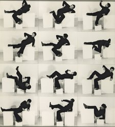 A black and white photograph, Bruce McLean Pose Work for Plinths I.