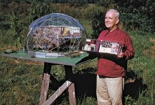 Buckminster Fuller with models of Standard of Living Package and Skybreak Dome, 1949