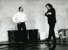 César (left) and Pierre Restany at the Tate Gallery, 5 March 1968