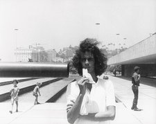 Cildo Meireles in front of the Monument to the Unknown Soldier Rio de Janeiro 1974