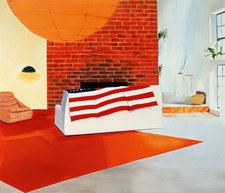 Dexter Dalwood Sharon Tates House 1998 interior view of a lounge with a brick chimney breast and a couch draped with the American flag