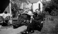 Kurt Schwitters with Edith Thomas and Bill Pierce at Cylinders Farm, Ambleside, c.1947