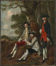 Thomas Gainsborough, Peter Darnell Muilman, Charles Crokatt and William Keable in a Landscape c.1750