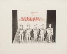 David Hockney, 8a. Bedlam from A Rake's Progress 1961–3