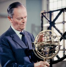 Production shot of Kenneth Clark at the Royal Observatory, Greenwich, for Civilisation 8 - The Light of Experience 1969
