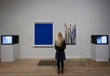 Installation view including Yves Klein IKB & Niki de Saint Phalle