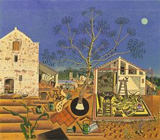 Joan Miro oil painting of a farm with blue sky