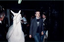Martin Kippenberger with llama at the closing party of S O 36 music club in Berlin  30 June 1980