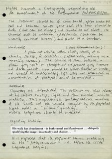 Marc Camille Chaimowicz, 'Notes towards a coreography [sic] regarding the re-enactment of the Performance Partial Eclipse'