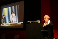 Daniel Buren during the Landmark Exhibitions conference at Tate Modern 2008