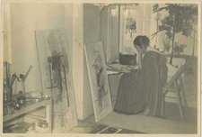 Nasreen at her studio in Bombay at the Bhulabhai Desai Institute