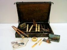 Paul Nash's paintbox and painting equipment