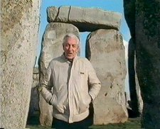 Raymond Baxter at Stonehenge in Upholding the Bricks, screened in 1991