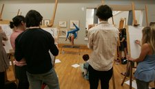 Visitors to 'BP Saturdays: Loud Tate 2008' take part in 'Life Drawing with a Twist'.