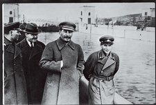 Undated photograph of Voroshilov, Molotov and Stalin, with Nikolai Yezhov, commissar of water transport, in the picture. He was shot in 1940