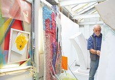 Phillip King and his work in his studio, London, July 2014, photographed by Robin Friend