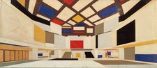 Theo van Doesburg Colour design for university hall in perspective towards the staircase 1923