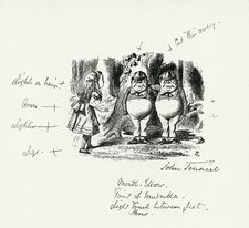 John Tenniel notes on his illustration of Alice with Tweedledum and Tweedledee