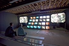 Installation view of Gretchen Bender's Total Recall 1987 at the Poor Farm, Wisconsin, 2012