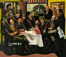 William Roberts oil painting of a group of Vorticists at a Parisian restaurant in 1915