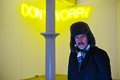 Martin Creed in front of Martin Creed Work No. 890, DON'T WORRY 2008